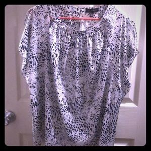 NWT The Limited Animal print navy white blouse.